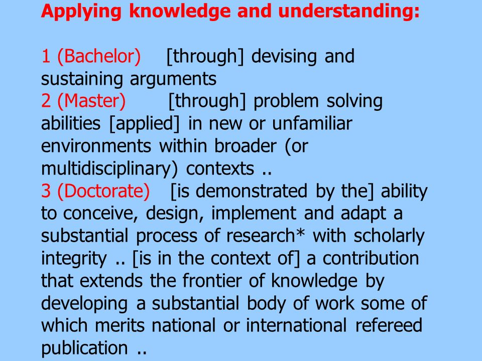 Applying knowledge and understanding: 1 (Bachelor) [through] devising and sustaining arguments 2 (Master) [through] problem solving abilities [applied] in new or unfamiliar environments within broader (or multidisciplinary) contexts ..